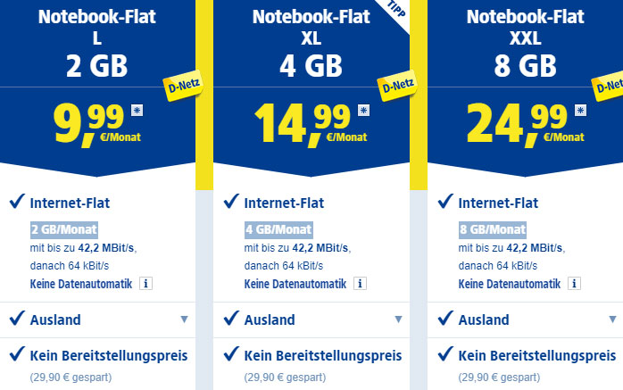 Notebook Flat Datentarife von 1&1